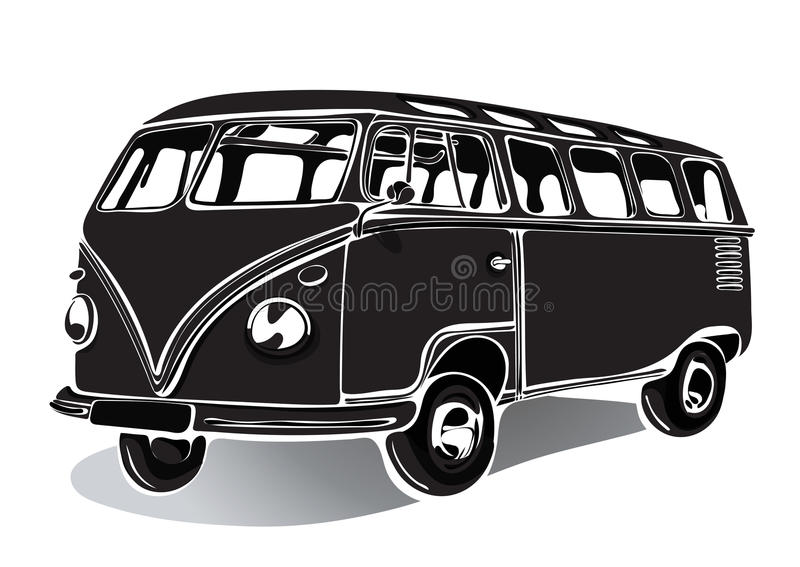 Vintage bus, retro car, black and white drawing, hand-drawing, monochrome royalty free illustration