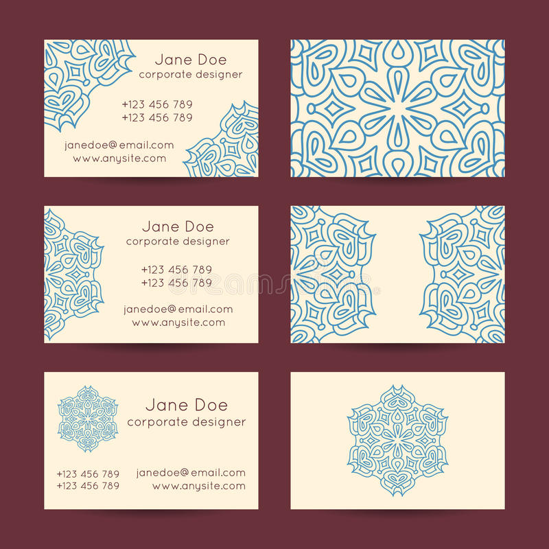 Vintage Business Cards Templates Stock Vector - Illustration of ...