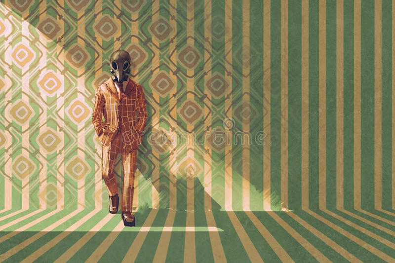 Vintage businessman with gas mask standing against the wall with retro pattern royalty free illustration