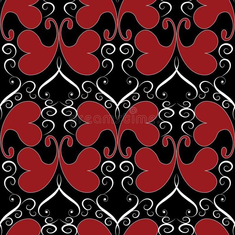 Vintage butterflies seamless pattern. Black floral vector background wallpaper illustration with red ornamental decorative love h stock illustration
