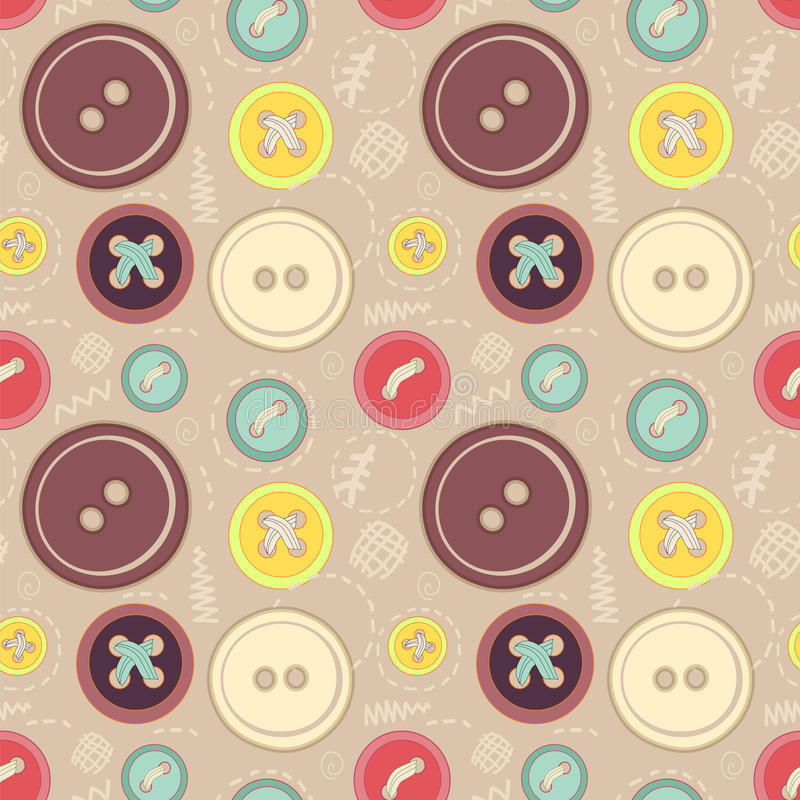 Vintage buttons sew seamless pattern royalty free illustration