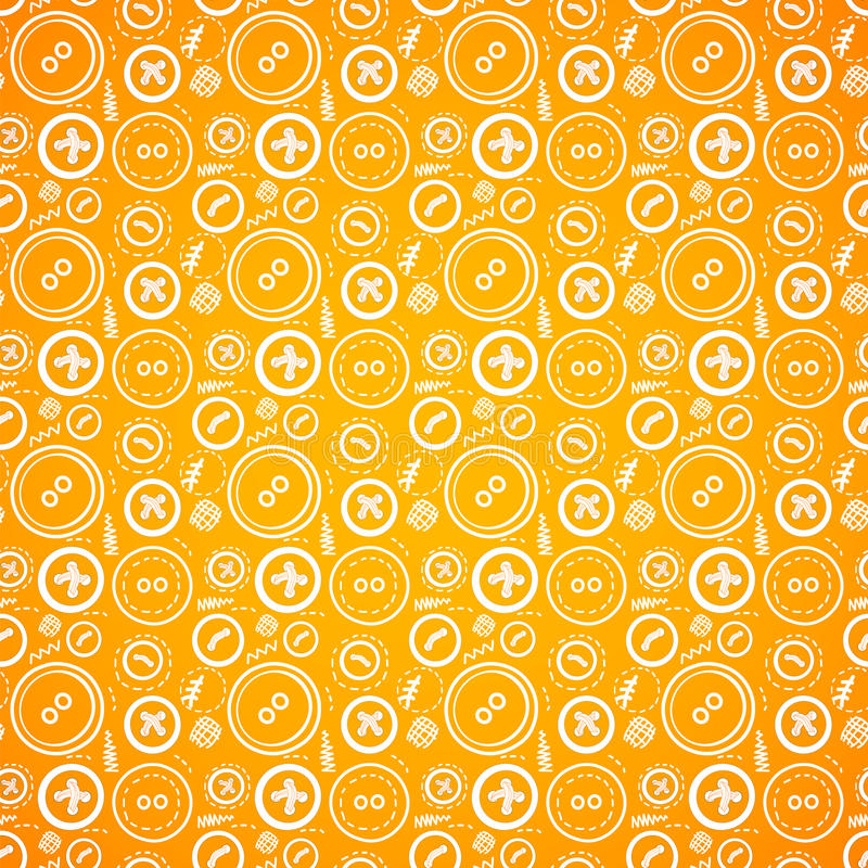 Vintage buttons sew seamless pattern in orange royalty free illustration
