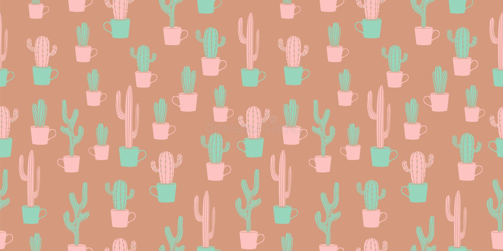 Vintage cactus design seamless pattern with cute scandinavian hand drawn. Garden vector decoration background summer desert plant textile fabric flower royalty free illustration
