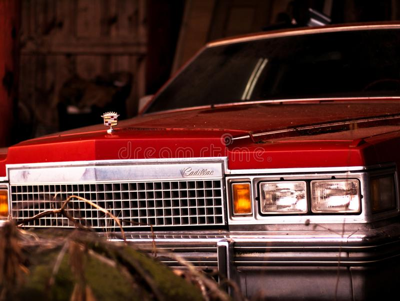 Vintage Cadillac que senta-se em um celeiro imperturbado foto de stock royalty free