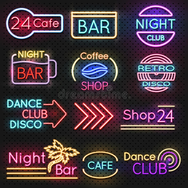 Vintage cafe and night club roadside neon signs vector set stock illustration