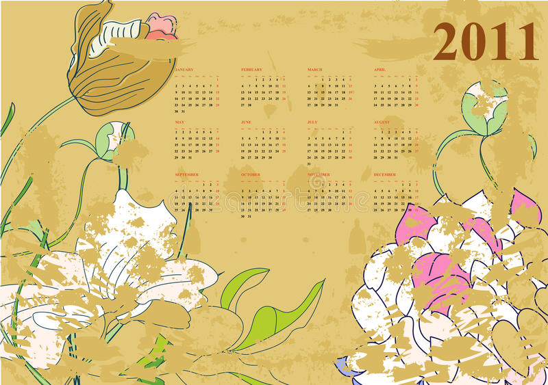 Download Vintage calendar for 2011 stock vector. Image of monthly - 14856828