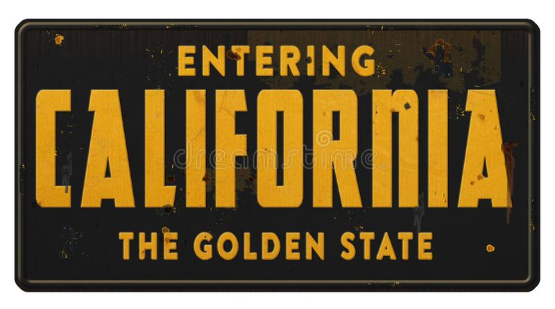 California State Sign Highway Freeway Road Grunge The Peach State. Vintage California Street Sign Entering state of metal road highway tin grunge retro black and stock photo
