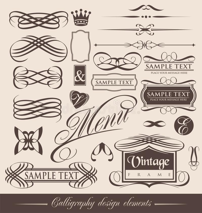 Vintage calligraphic design elements stock illustration