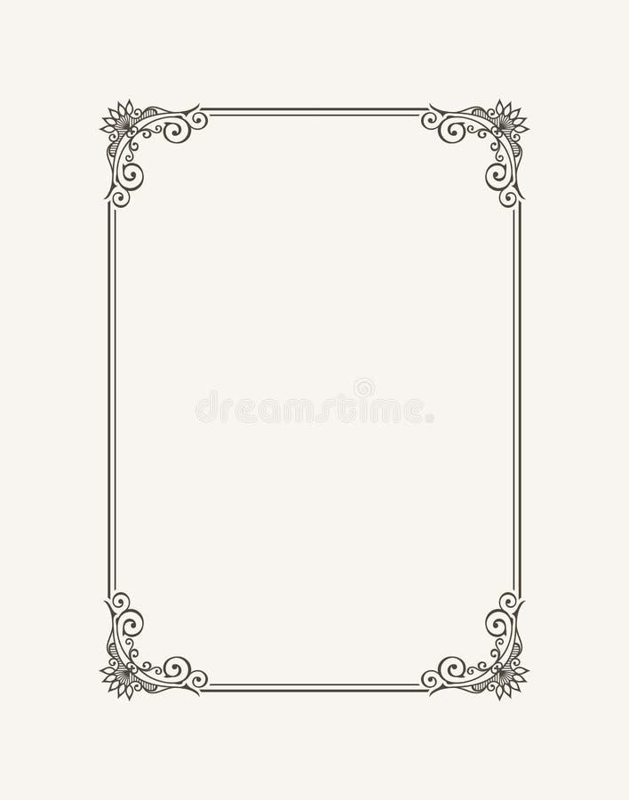 Vintage calligraphic frame. Black and white vector border of the invitation, diploma, certificate, postcard stock illustration