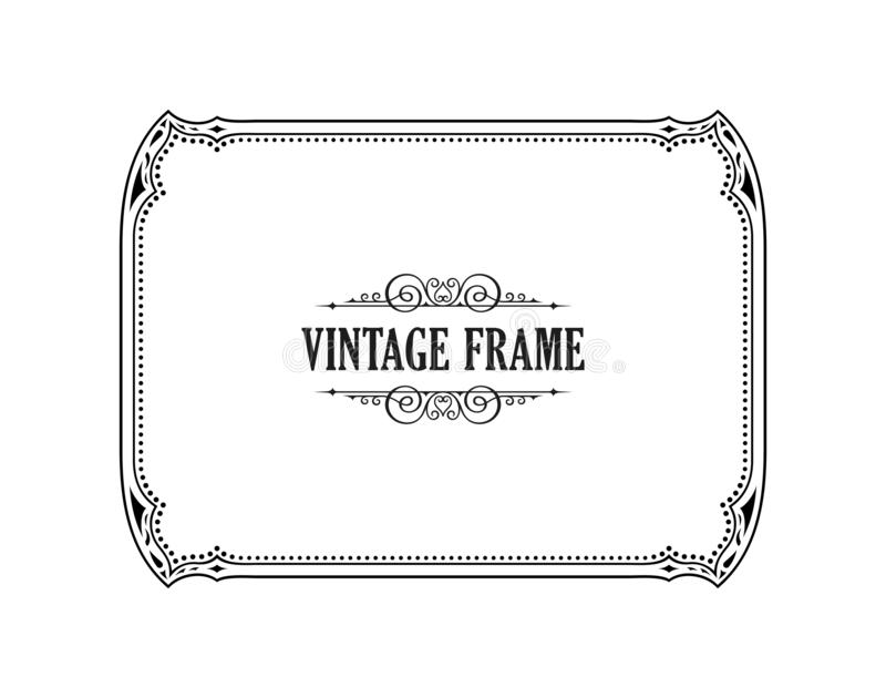 Vintage calligraphic frame. Black and white vector border of the invitation, diploma, certificate, postcard royalty free illustration