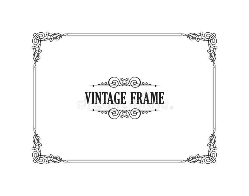 Vintage calligraphic frame. Black and white vector border of the invitation, diploma, certificate, postcard vector illustration