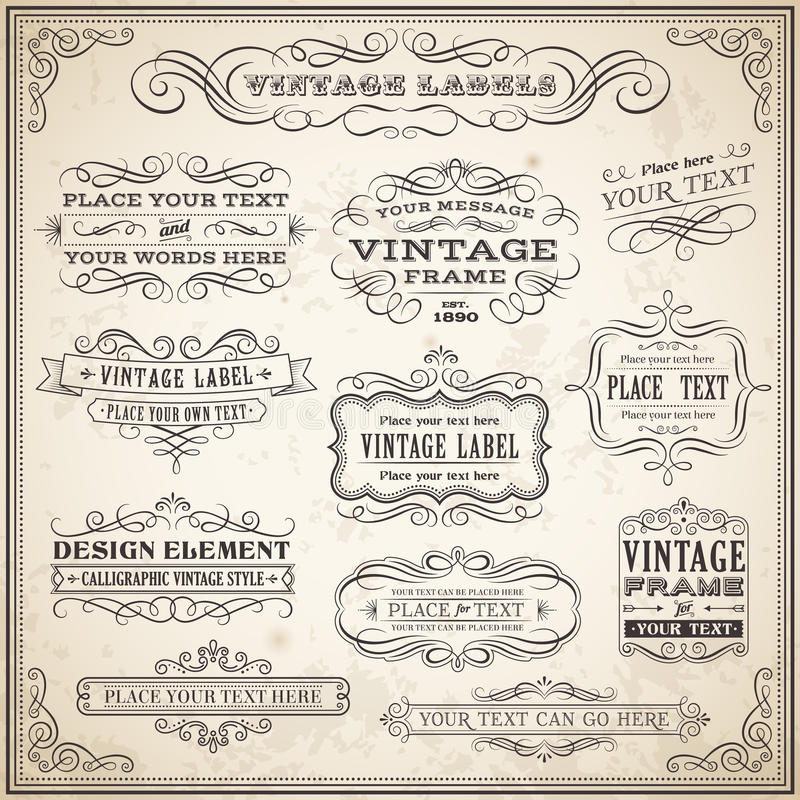 Vintage Calligraphic Labels Set. Big collection of Vintage Calligraphic Vector Labels and Banners, Vector file is fully layered for ease of use