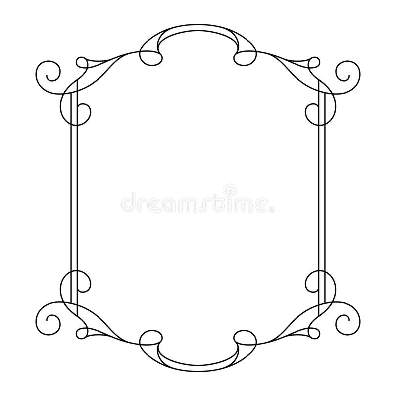 Download Vintage Calligraphic Rectangle Frame With Swirls Stock Vector