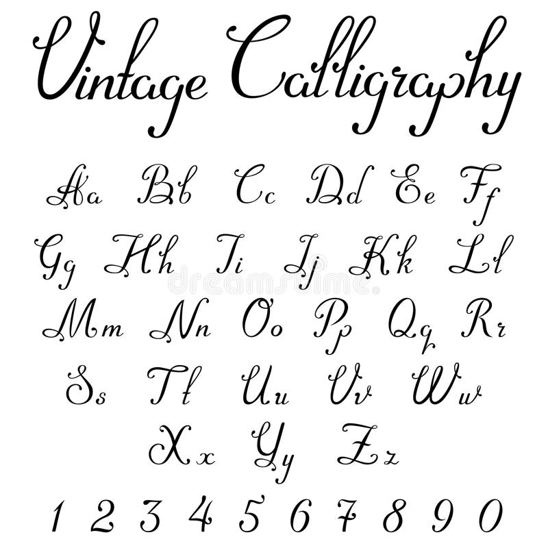 Download Vintage Calligraphic Script Font Vector Letters Stock