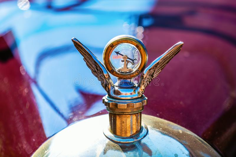 Vintage calorimeter on a historical Morris Cowley car royalty free stock image
