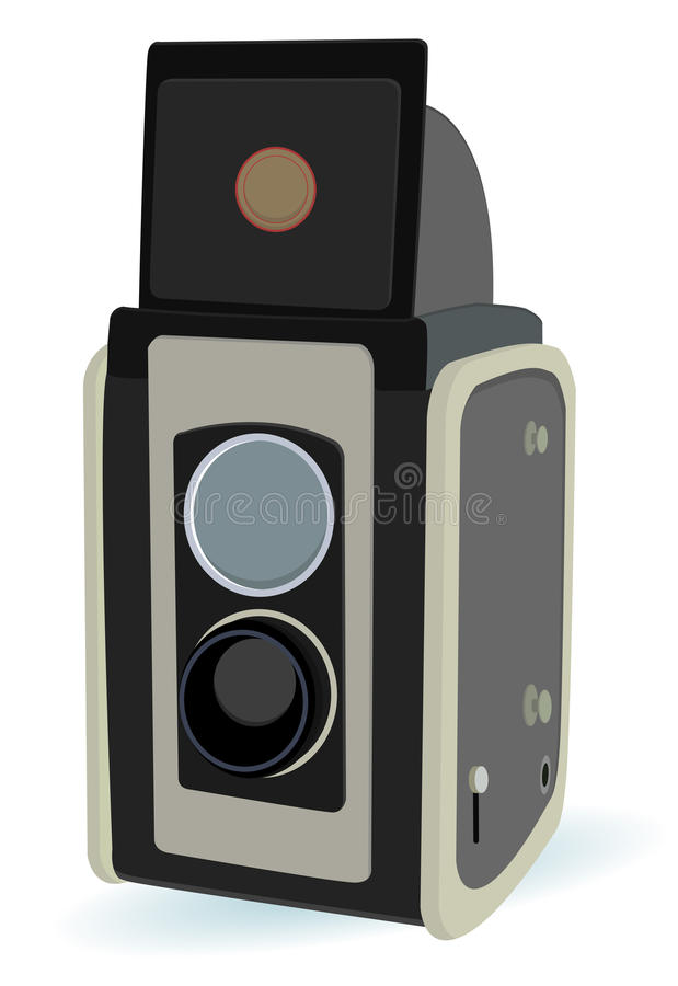 Vintage camera. With two lens in vector mode royalty free illustration
