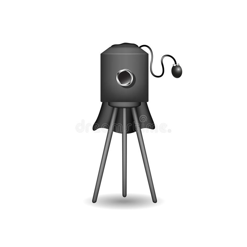 Vintage camera in black design. With shadow on white background vector illustration