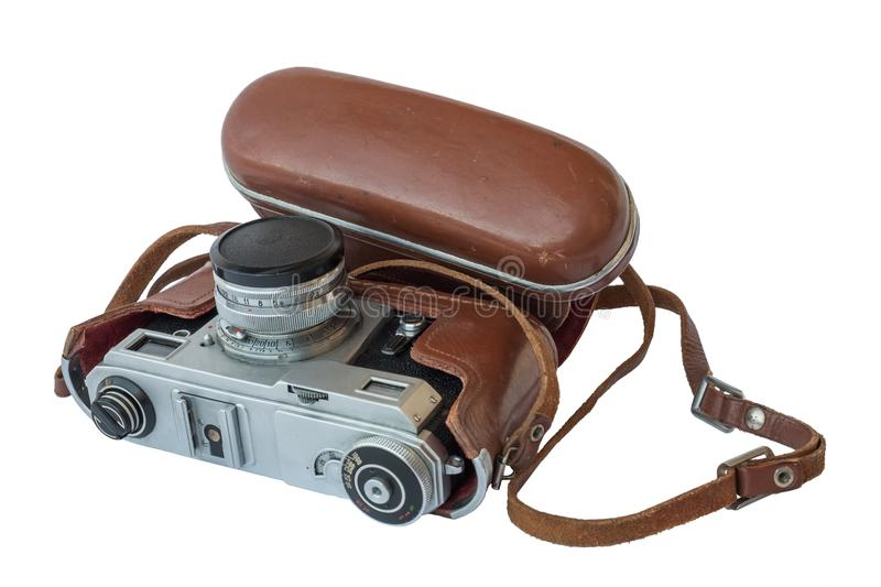 A vintage camera in a brown leather case royalty free stock photography