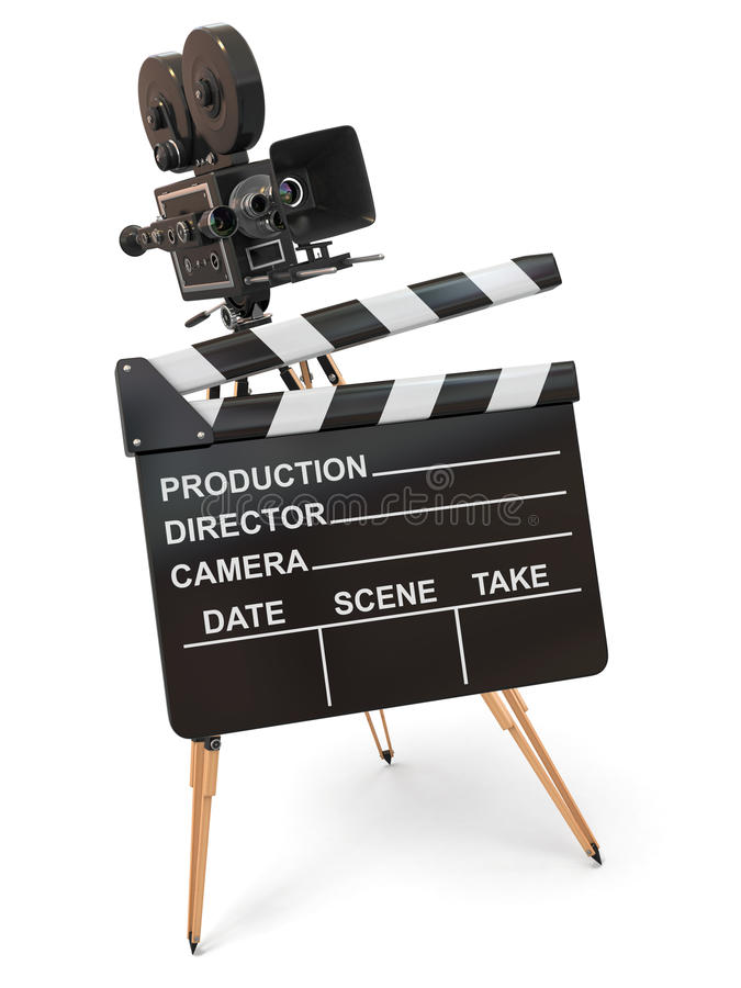 Vintage Camera And Clapperboard. Royalty Free Stock Photo