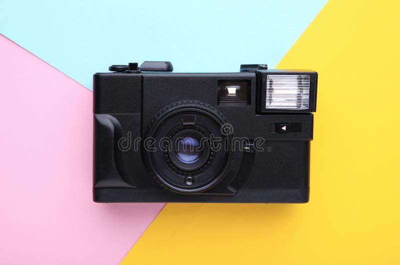 Vintage camera on colorful background. Old photo camera on background. Vintage camera on colorful background. Photo camera on background royalty free stock photo