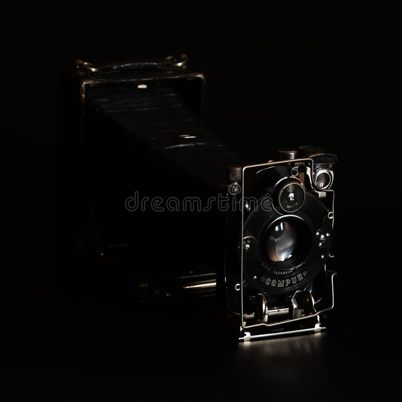 Vintage camera Compur Zeiss Ikon in front view royalty free stock images