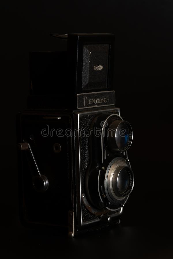 Vintage camera Flexaret in front view stock photos