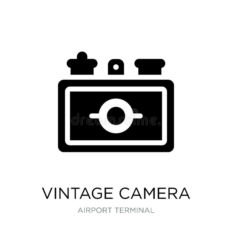 Vintage camera icon in trendy design style. vintage camera icon isolated on white background. vintage camera vector icon simple. And modern flat symbol for web royalty free illustration