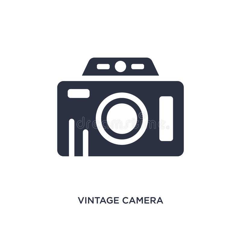 Vintage camera icon on white background. Simple element illustration from airport terminal concept. Vintage camera icon. Simple element illustration from airport stock illustration