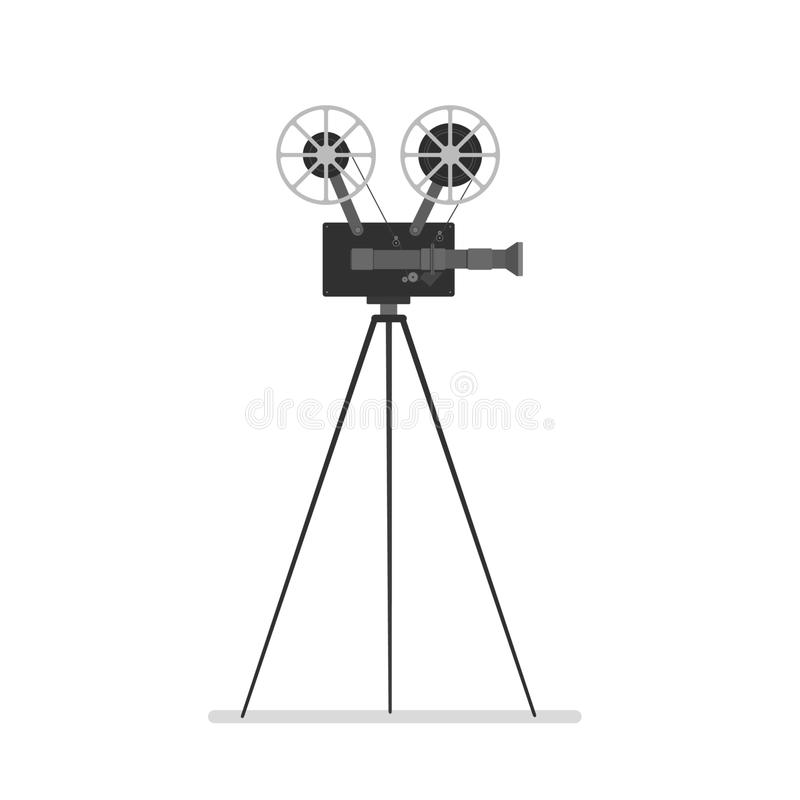 Vintage camera on tripod. Vector illustration of old film video camera on a tripod on white royalty free illustration