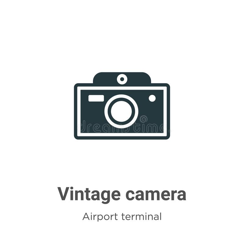 Vintage camera vector icon on white background. Flat vector vintage camera icon symbol sign from modern airport terminal. Collection for mobile concept and web royalty free illustration