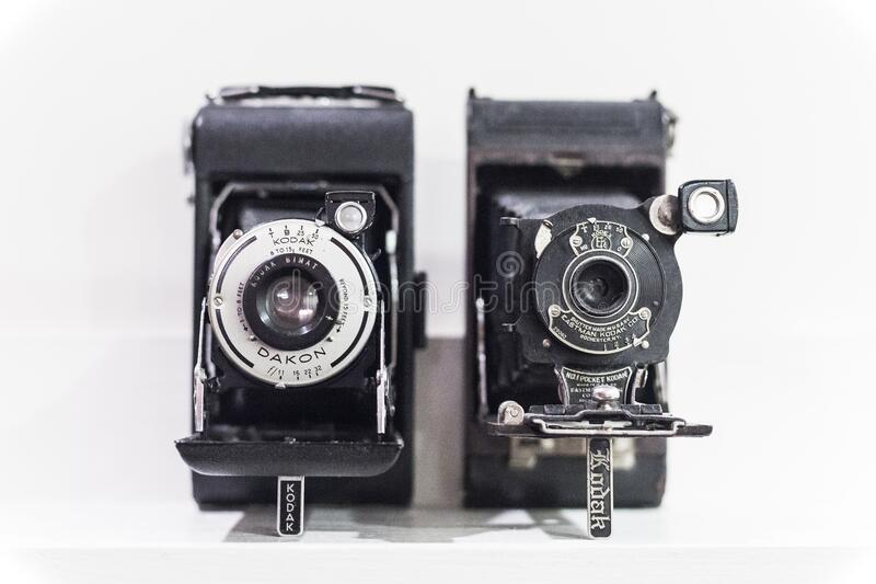 Vintage cameras in black and white stock images