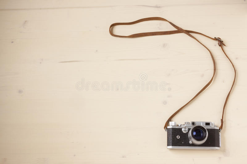 Vintage Cameras. On a wooden background royalty free stock photos