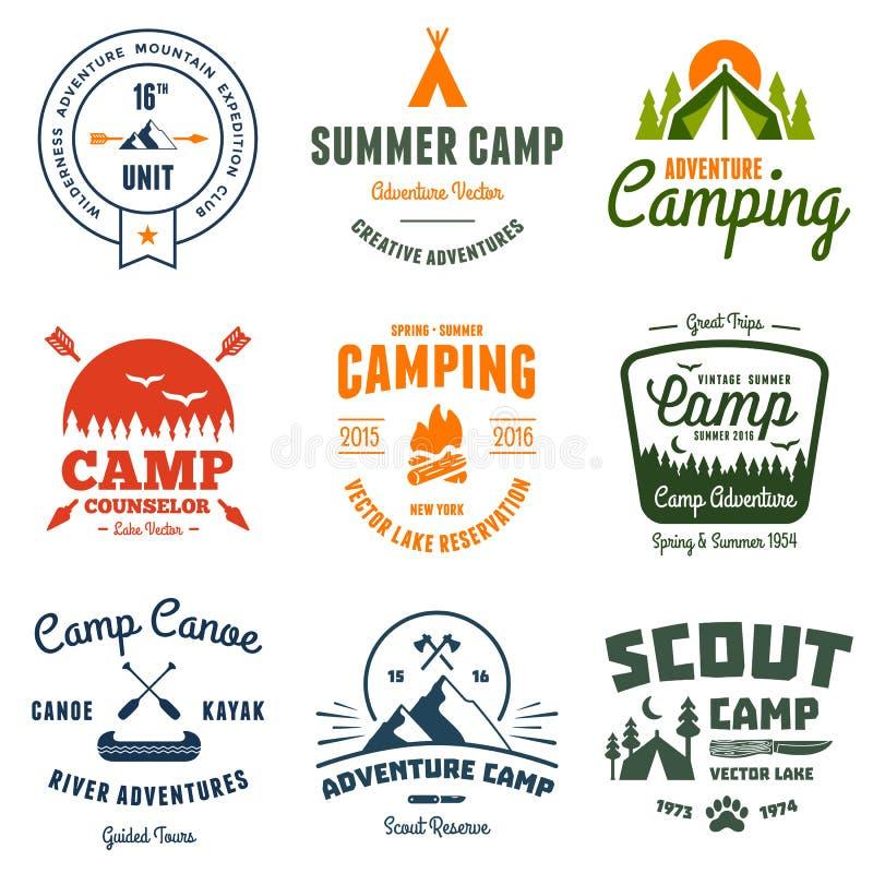 Vintage camp graphics. Set of retro vintage camp labels and graphics