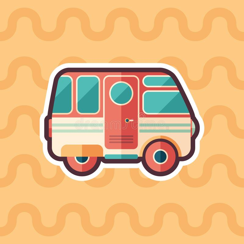 Vintage camper van sticker flat icon with color background. royalty free illustration