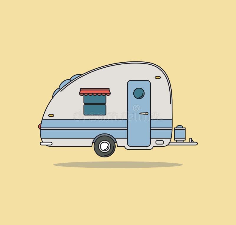 vintage camping car caravan for rest stock vector. Black Bedroom Furniture Sets. Home Design Ideas