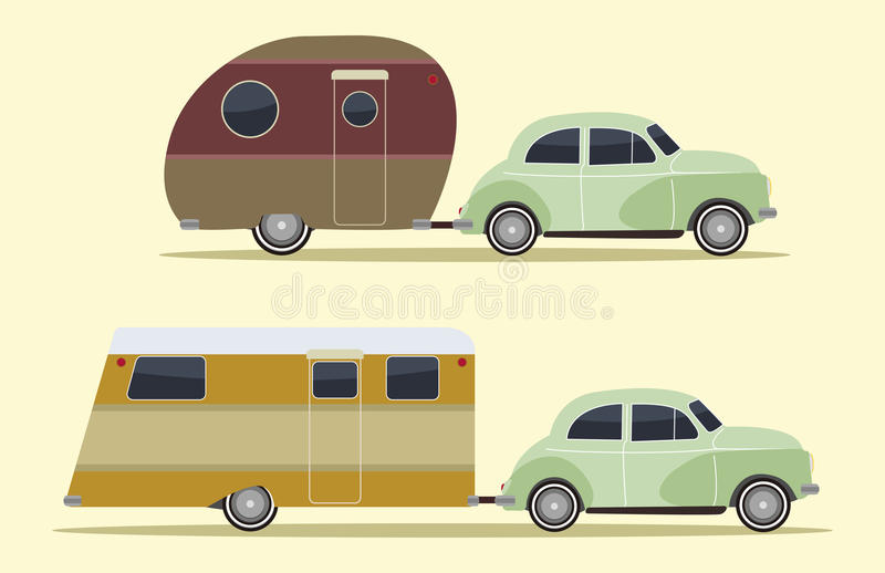 Vintage camping cars. Set of two vintage camping cars, retro style