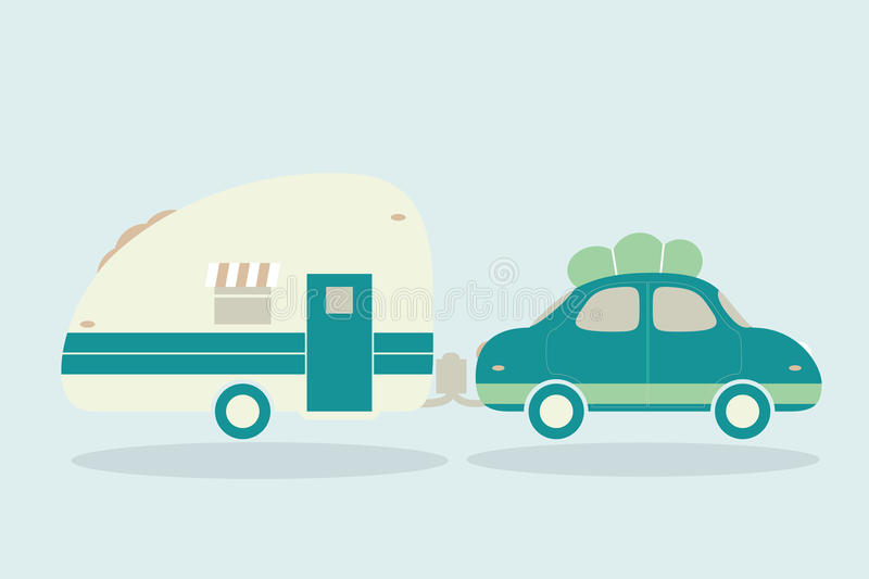 Vintage camping cars for all family. Car with trailer illustration stock illustration