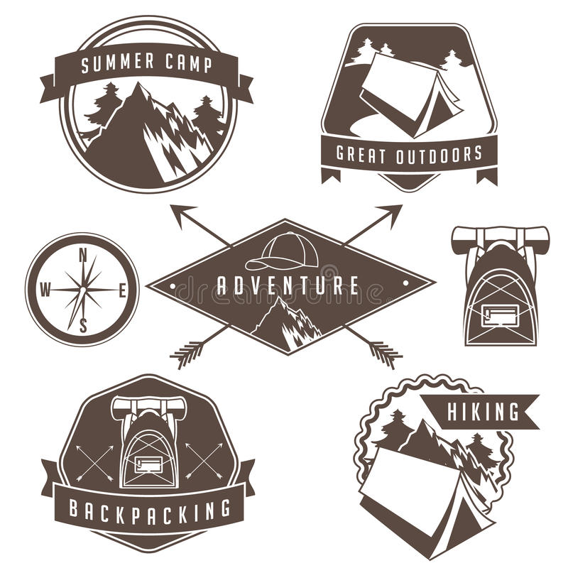 Vintage camping and hiking badge and emblem collection. vector illustration