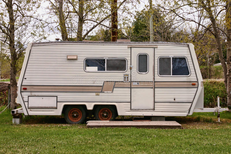 Vintage camping trailer. Mobile home royalty free stock photos