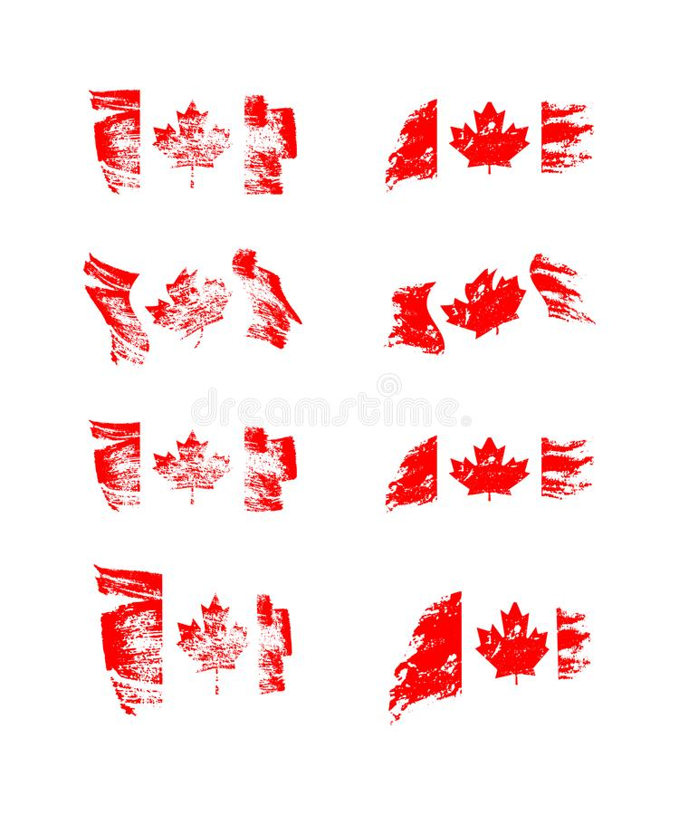 Vintage Canadian flag set. Vector flags of Canada on grunge textures. vector illustration