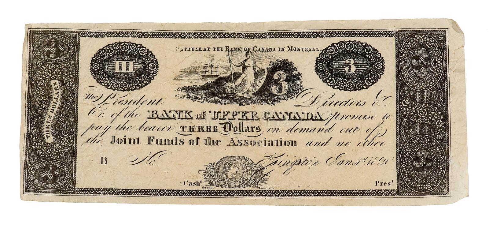 Vintage Canadian Three Dollar Bill royalty free stock photo