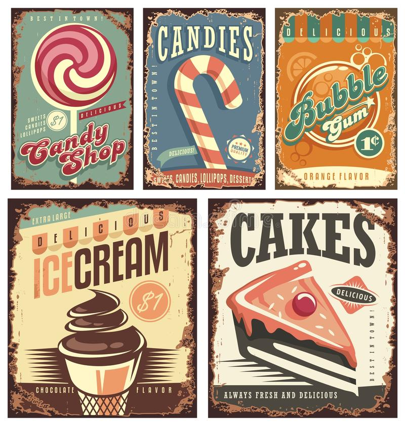 Vintage candy shop collection of tin signs. Retro posters layouts set with sweets, cakes, ice cream and bubble gum. Creative old fashioned rusty ads and
