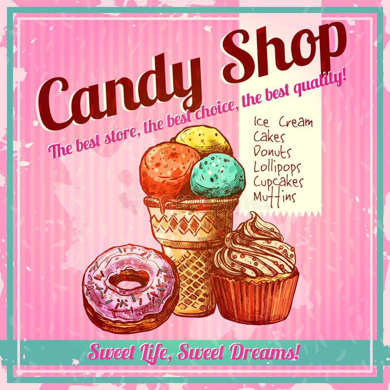 Vintage Candy Shop Poster. With sketch donut ice cream and cupcake on textured background vector illustration stock illustration