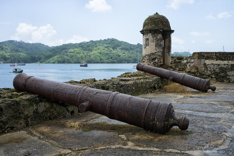 Vintage cannons in Portobelo Panama royalty free stock images