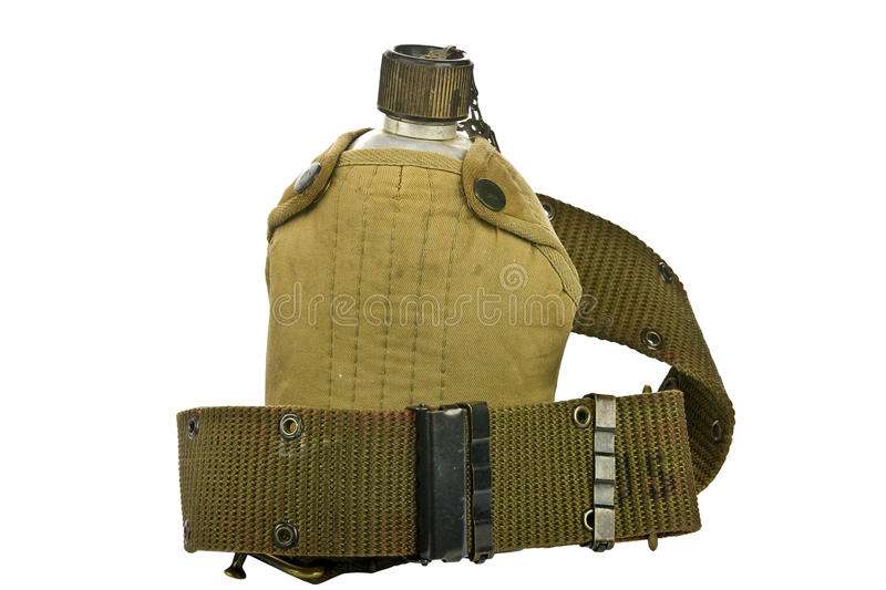 Vintage Canteen and Cover with a Cartridge belt stock photography