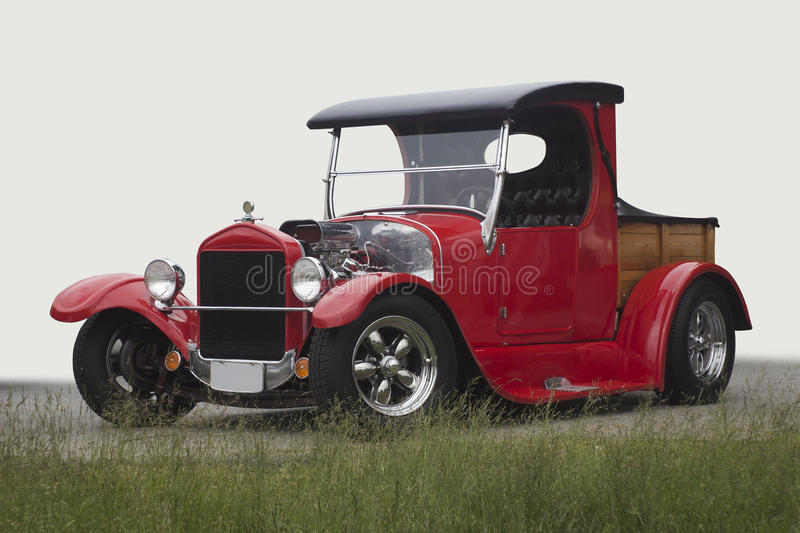 Vintage car. Red vintage car with the engine exposed royalty free stock images