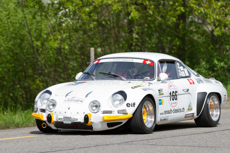 Vintage car Alpine Renault A 110 1600 S from 1972. MUTSCHELLEN, SWITZERLAND-APRIL 29: Vintage race touring car Alpine Renault A 110 1600 S from 1972 at Grand stock photos