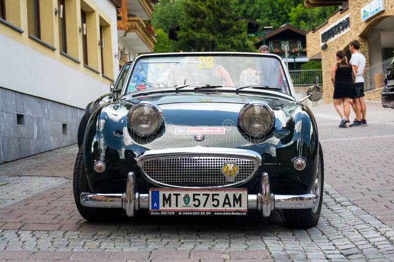 Vintage car Austin Healey Sprite roadster oldsmobile veteran produced from 1958 to 1971. SAALBACH-HINTERGLEMM, AUSTRIA - JUNE 21 2018: Vintage car Austin Healey royalty free stock image