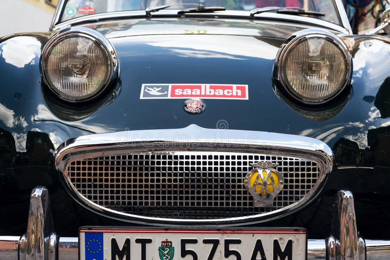Vintage car Austin Healey Sprite roadster oldsmobile veteran produced from 1958 to 1971. SAALBACH-HINTERGLEMM, AUSTRIA - JUNE 21 2018: Vintage car Austin Healey stock photography