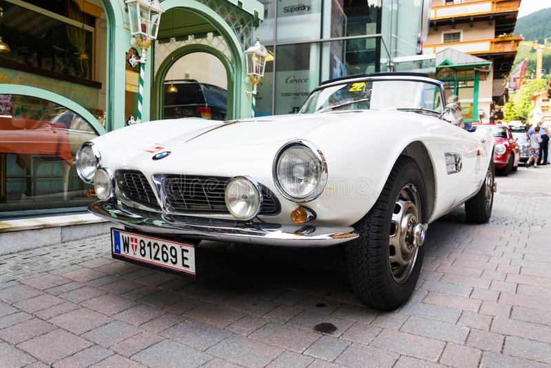 Vintage car BMW 507 roadster oldsmobile veteran produced from 1956 to 1959. SAALBACH-HINTERGLEMM, AUSTRIA - JUNE 21 2018: Vintage car BMW 507 roadster oldsmobile stock images